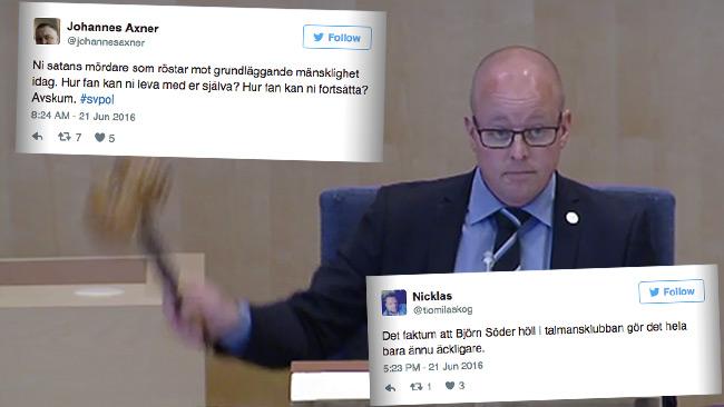 Det var Björn Söder som fick klubba den strängare asyllagen för flyktingar som söker sig till Sverige. Foto: riksdagen.se samt Twitter