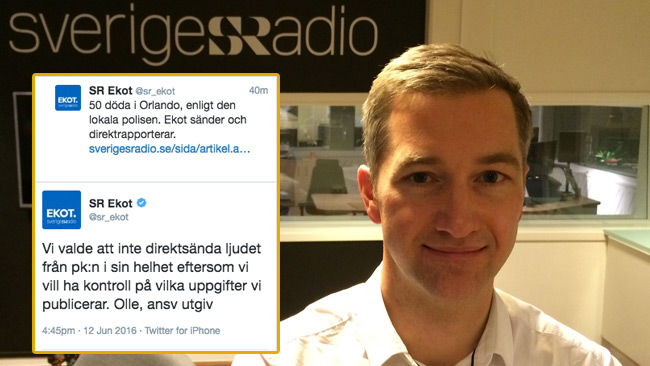 Chefen på SR Ekot möter hård kritik för sitt beslut. Foto: Pressbild Anders Diamant / Sveriges Radio samt Faksimil Twitter