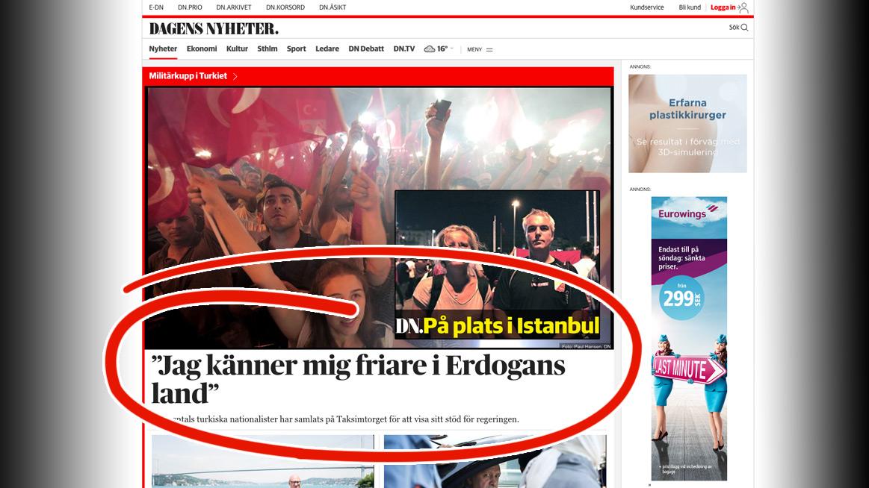Av alla rubriker väljer DN att toppa det digitala löpet med detta. Foto: Faksimil dn.se