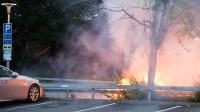 Två bilar brann natten mot lördagen i Norsborg. Foto: Nyheter Idag