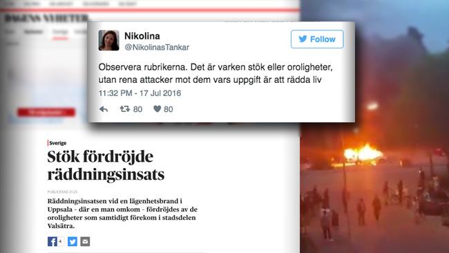 """Istället för våldsamt upplopp står det """"stök"""" hos DN. Foto: Faksimil Twitter, dn.se samt Privat"""