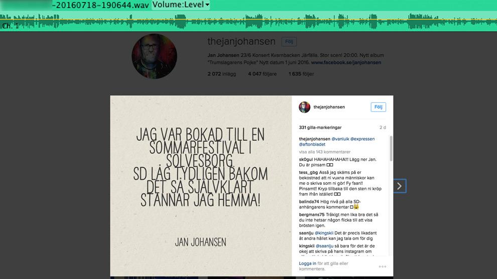 Utåt tog han avstånd från SD. Privat läser han in sig på antisemitiska konspirationsteorier. Foto: Faksimil Instagram