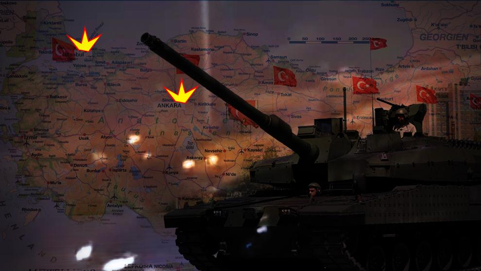 Militären har slagit till mot mål i Istanbul och Ankara. Montage: Nyheter Idag