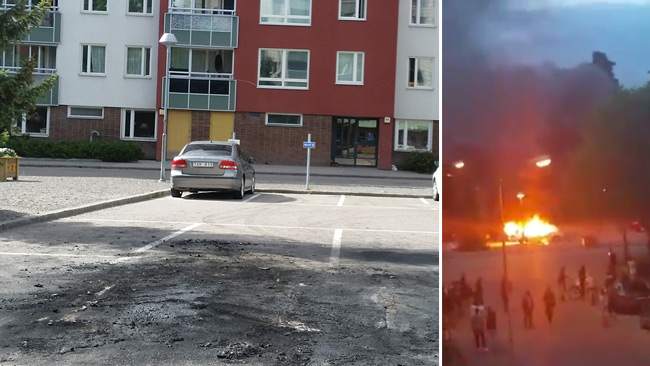 Det våldsamma upploppen har pågått två dagar i rad i Uppsala. Foto: Läsarbild