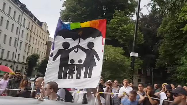 Nordisk Ungdom väckte starka känslor med sin motdemonstration. Foto: Faksimil Youtube