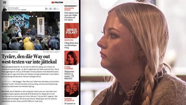 Atladottir är inte alls road när Way out west hånas. Foto: Faksimil Politism samt Nyheter Idag