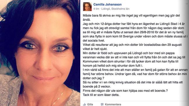 Camilla efterlyser desperat ny bostad på Facebook.