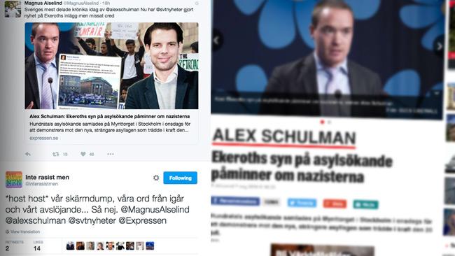 Inte rasist men borde ha fått credd för avslöjandet. Foto: Twitter / Faksimil expressen.se