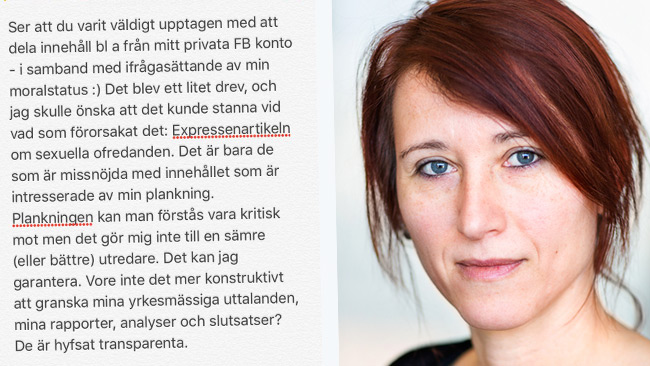 Hradilova Selin försvarar beteendet som enligt lag kan vara ett bedrägeribrott. Foto: Twitter samt Lieselotte van der Meijs