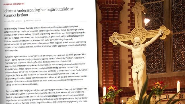 Nu lämnar Johanna Andersson Svenska kyrkan efter mobbingen. Foto: Faksimil kristenopinion.wordpress.com samt Wikimedia Commons