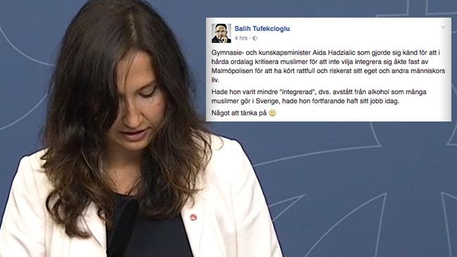 Hade Aida levt mer som en muslim hade hon inte behövt avgå, menar Salih. Foto: regeringen.se samt Facebook