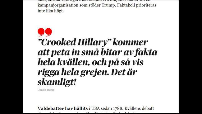 Det felaktiga Trump-citatet i DN:s webupplaga efter att rättning gjorts. Foto: skärmdump