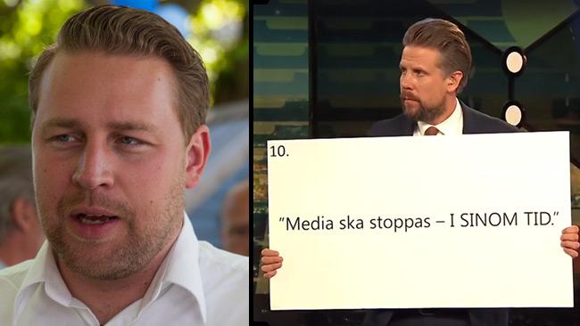 Karlsson (SD) går till motattack med egen citatlista. Foto: Nyheter Idag samt Faksimil Facebook