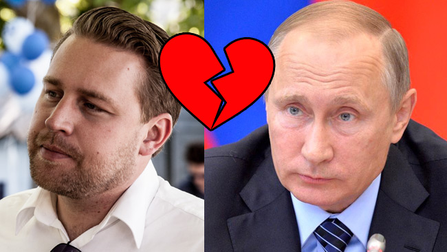 Karlsson (SD) verkar inte hysa några varma känslor för Putin. Bilden är ett montage. Foto: Nyheter Idag samt Kremlin.ru