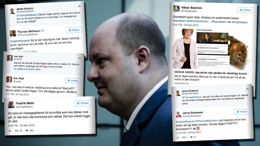 """""""Expressen goes nazi"""", konstaterar GP:s Håkan Boström. I bilden Thomas Mattsson, ansvarig utgivare för Expressen. Foto: Nyheter Idag"""