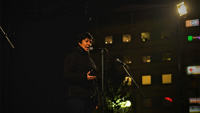 Mona Sahlin talar vid medborgarplatsen i oktober 2015. Foto: Jonatan Svensson/Wikimedia commons