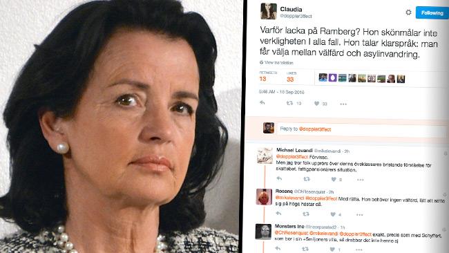 Anne Rambergs utspel väcker reaktioner på Twitter. Foto: CC Frankie Fouganthin samt faksimil Twitter
