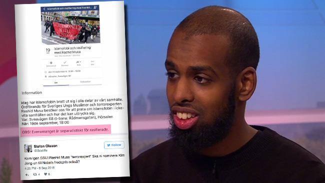 Rashid Musa är en känd debattör. Nu presenteras han som terrorexpert. Foto: svtplay.se samt Twitter