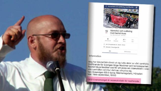Söderman hyllar SSUs möten där människor delas in i ras. Foto: Youtube samt Facebook