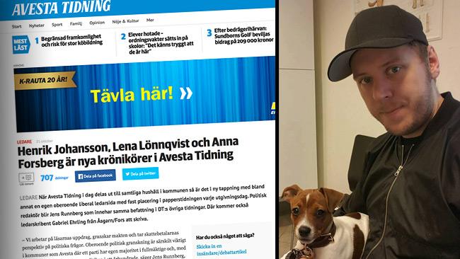 Johansson är ny krönikör i Avesta Tidning. Foto: Privat samt faksimil avestatidning.com