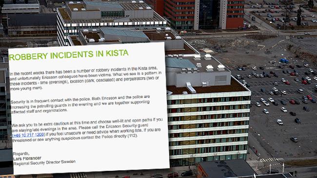 Nu varnas de anställda på Ericsson för rånrisken precis utanför jobbet. Foto: Wikimedia Commons / Faksimil ur mejlet
