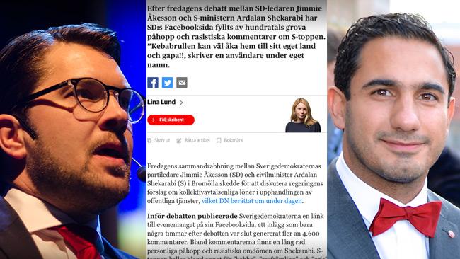 Både Åkesson och Shekarabi fick ta emot hot. Men DN berättar enbart om hoten mot Shekarabi. Foto: Nyheter Idag, faksimil dn.se samt Frankie Fouganthin