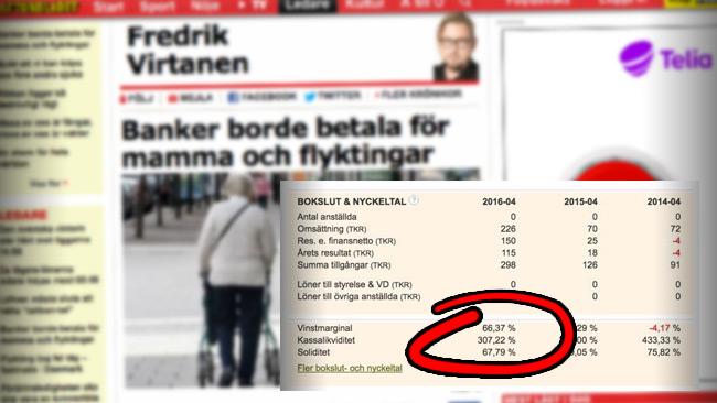 Nu anklagas Virtanen för hyckleri. Foto: faksimil Aftonbladet samt Twitter