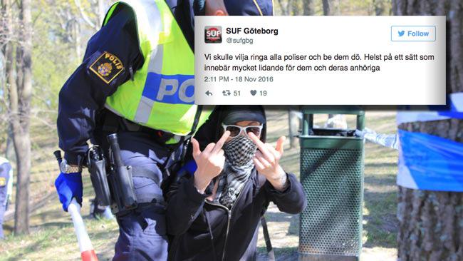 SUF räknas till våldsbejakande vänsterextremism. Nu önskar de livet ur polisen. Foto: Nyheter Idag / Twitter