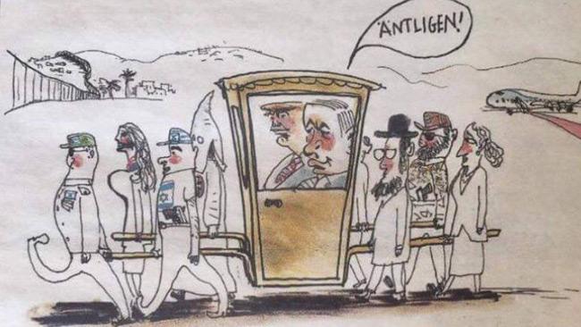 Den antisemitiska teckningen i DN. Foto: Faksimil Dagens Nyheter