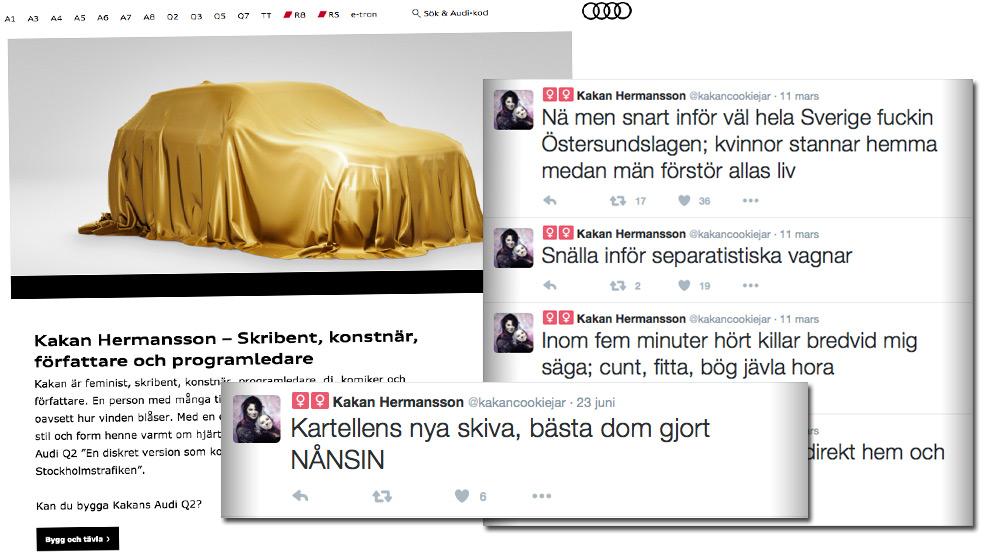 Några av de tweets som Hermansson skrivit efter att hon pudlade förra gången. Bilden är ett montage. Foto: Faksimil audi.se samt Twitter