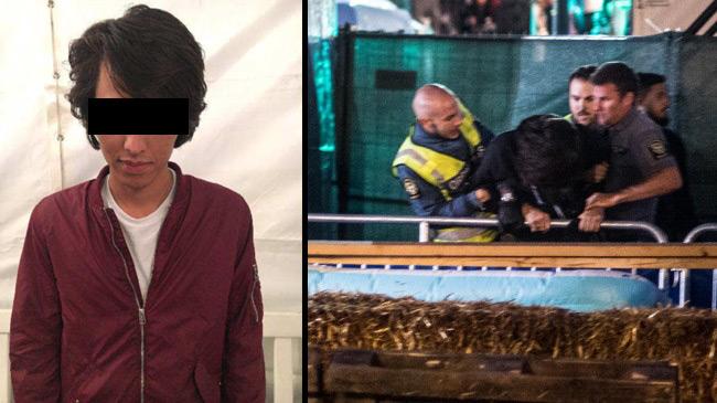 Bilden är ett montage. Den dömde (t.v) och ordningsvakter på festivalen (t.h). Foto: Polisen samt Nyheter Idag
