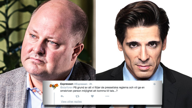 Expressens pressetik tvingade Oscarsson att fly lägenheten via balkongen. Expressens chefredaktör Thomas Mattsson (t.v) och TV4-profilen Marcus Oscarsson (t.h).