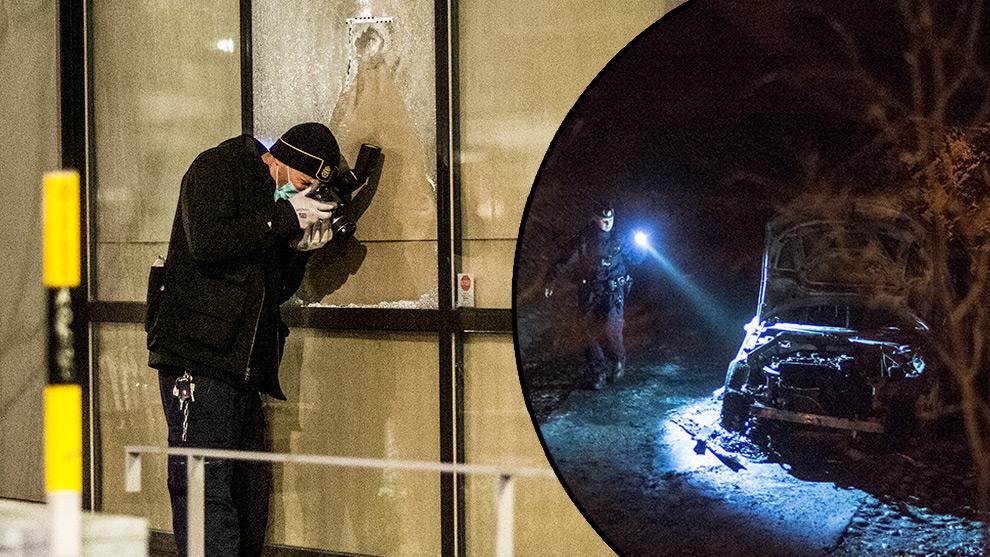 Polisens tekniker undersöker ett möjligt skotthål i ett skyltfönster (t.v). Till höger en utbrunnen bil där det kan ha funnits ett vapen. Foto: Nyheter Idag