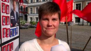 Hanna Gunnarsson är aktiv i Vänsterpartiet. Foto: Youtube