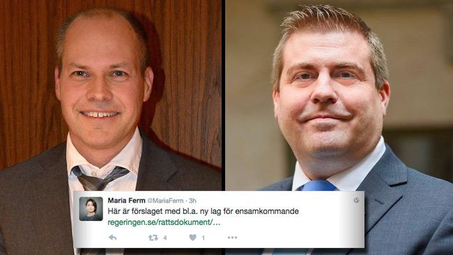 Justitieminister Morgan Johansson (S) och Mikael Eriksson (SD). Infällt Maria Ferms tweet. Foto: CC Frankie Fouganthin / Privat