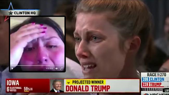 Det sprids nu videoklipp på gråtande liberaler. Foto: Faksimil Twitter / Youtube