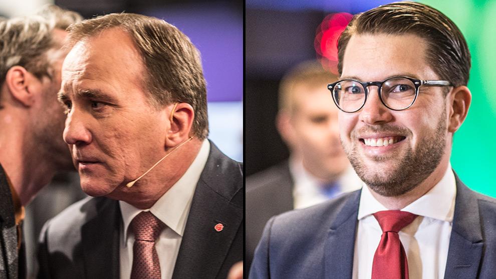 Stefan Löfven (t.v) har anledning att vara orolig. Det har däremot inte Jimime Åkesson (t.h). Foto: Nyheter Idag