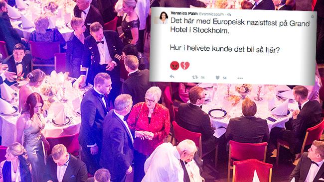 Veronica Palm rasar över banketten. Foto: Nyheter Idag samt Twitter