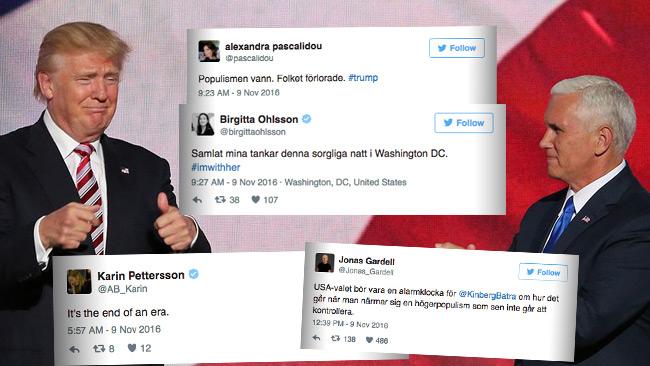 Flera kända svenska debattörer är djupt besvikna. Foto: Wikimedia Commons samt Twitter