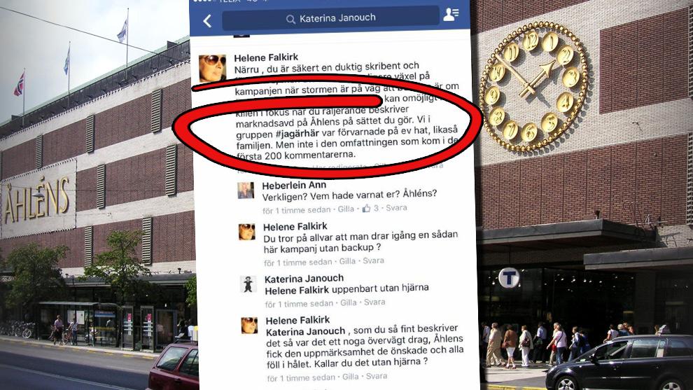 Enligt Helene Falkirk blev Facebookgruppen #jagärhär, men även familjen, förvarnade på hat. Det stärker misstankarna om att de rasistiska kommentarerna var en del av PR-arbetet. Foto: Holger Ellgaard samt faksimil Facebook