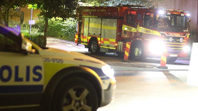 Brandkåren Attunda på utryckning. Bilden är tagen vid ett annat tillfälle. Foto: Stefan Reinerdahl