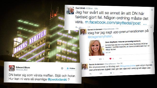 Reaktionerna är kraftiga mot DN – Men tidningen väljer att smutskasta Skyttedal. Foto: Nyheter Idag / Twitter
