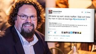 Edward Blom uppmanar till bojkott av DN. Foto: Nyheter Idag / Twitter
