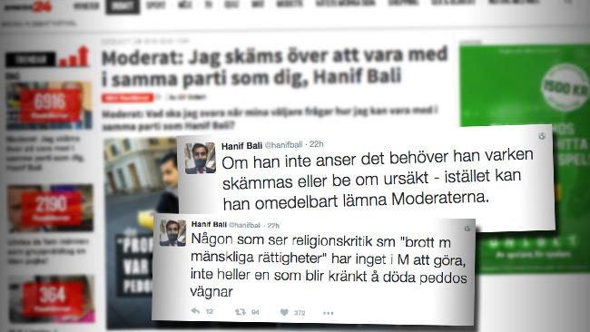 Internbråk i Moderaterna om profeten Mohamed. Foto: Faksimil Nyheter24 samt Twitter