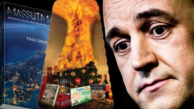 Beställer man Tinos bok snabbt så får man en brinnande julgran hemskickad.