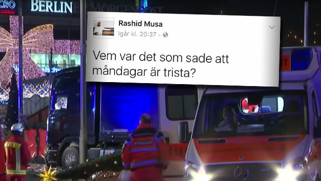 Musa möter hård kritik för sin kommentar efter dådet i Berlin. Foto: Faksimil Youtube / Facebook