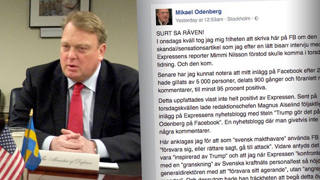 Mikael Odenberg uppmanar Expressen att slänga sig i väggen. Foto: Wikimedia Commons samt faksimil Facebook