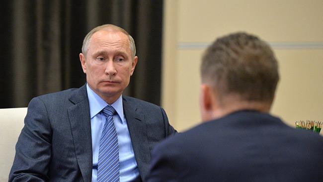 Putin i möte med Alexey Miller, styrelseordförande i Gazprom. Foto: kremlin.ru