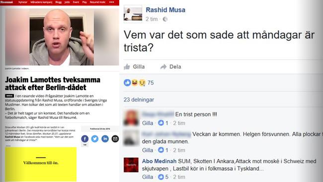 Resume kritiserar Lamotte som i sin tur kritiserar Musa. Foto: Faksimil resume.se samt Facebook