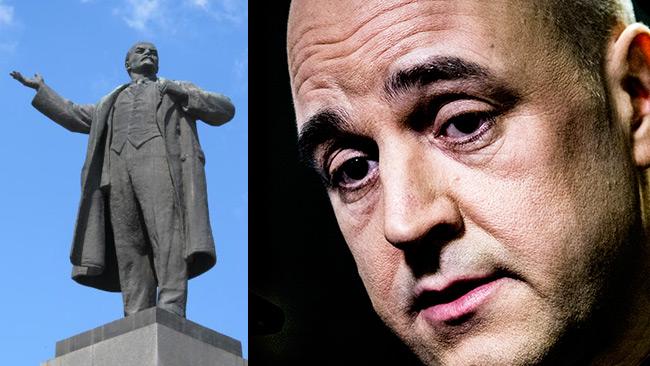 Till vänster en staty av Lenin. Till höger Reinfeldt. Foto: Wikimapia samt Nyheter Idag